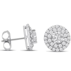 14K White Gold 3 Carat Diamond Halo Stud Earrings