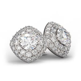 14K White Gold 3 Carat Diamond Cushion Shape Halo Stud Earrings