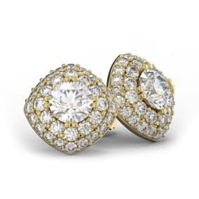 14K Yellow Gold 3 Carat Diamond Cushion Shape Halo Stud Earrings