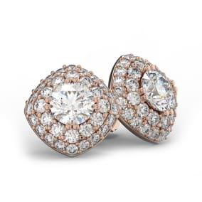 14K Rose Gold 3 Carat Diamond Cushion Shape Halo Stud Earrings