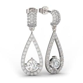14K White Gold 3 Carat Diamond Halo Teardrop Earrings