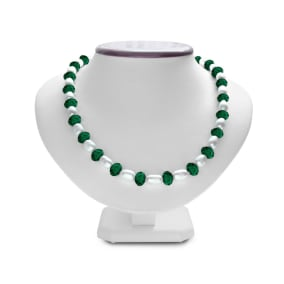 Fine Dark Green Crystal and Giant Seed Pearl Necklace