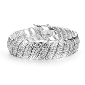 2 Carat Diamond Bracelet in White Gold Overlay. Wonderful Swirly Bold Look That Has Been Loved For Years!