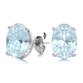 1 1/2 Carat Oval Shape Aquamarine Stud Earrings In Sterling Silver