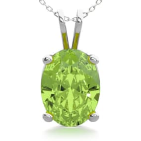 1 1/3 Carat Oval Shape Peridot Necklace In Sterling Silver, 18 Inches