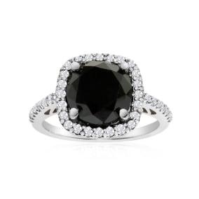 4 1/2 Carat Cushion Cut Black and White Diamond Halo Ring in 14k White Gold