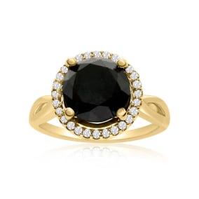 4 3/4 Carat Black and White Diamond Halo Ring In 14 Karat Yellow Gold