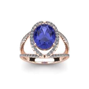 1 3/4 Carat Oval Shape Tanzanite and Halo Diamond Ring In 14 Karat Rose Gold