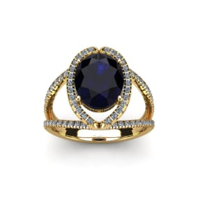 2 Carat Oval Shape Sapphire and Halo Diamond Ring In 14 Karat Yellow Gold