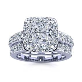 3 1/2 Carat Princess Shape Halo Diamond Bridal Set in 14k White Gold
