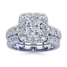 4 1/2 Carat Princess Halo Diamond Bridal Set in 14k White Gold
