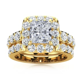 4 1/2 Carat Princess Halo Diamond Bridal Set in 14k Yellow Gold
