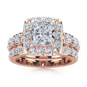 4 1/2 Carat Princess Halo Diamond Bridal Set in 14k Rose Gold