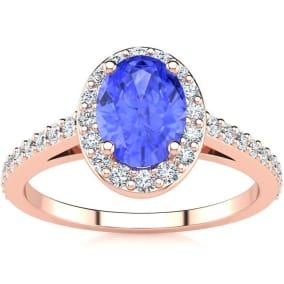 1 1/4 Carat Oval Shape Tanzanite and Halo Diamond Ring In 14 Karat Rose Gold