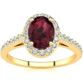 1 1/3 Carat Oval Shape Garnet and Halo Diamond Ring In 14 Karat Yellow Gold
