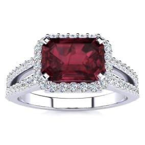 1 3/4 Carat Antique Garnet and Halo Diamond Ring In 14 Karat White Gold