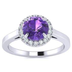 3/4 Carat Round Shape Amethyst and Halo Diamond Ring In 14 Karat White Gold