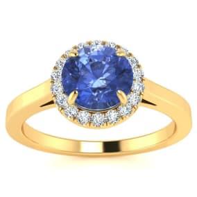 1 Carat Round Shape Tanzanite and Halo Diamond Ring In 14 Karat Yellow Gold