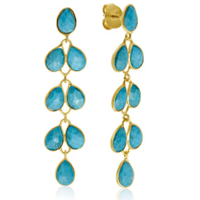 10 Carat Turquoise Feather Earrings In 14K Yellow Gold