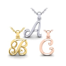 Bold Swirly Initial Necklace in Heavy 14K Gold - All Initials Available!