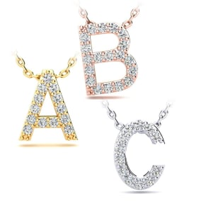Diamond Block Initial Necklace in 14k Gold - All Initials Available!