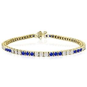 5 Carat Tanzanite and Diamond Bracelet In 14 Karat Yellow Gold