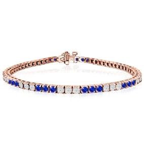 5 Carat Tanzanite and Diamond Bracelet In 14 Karat Rose Gold
