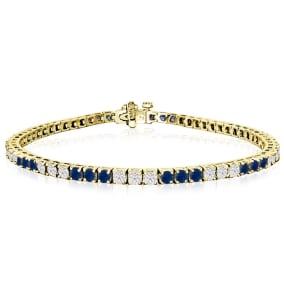 5 Carat Sapphire and Diamond Bracelet In 14 Karat Yellow Gold
