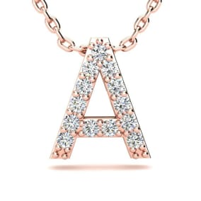 Diamond Initial Necklace, Letter A In Block Style, 14 Karat Rose Gold