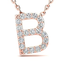 Diamond Initial Necklace, Letter B In Block Style, 14 Karat Rose Gold