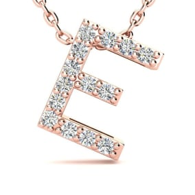 Diamond Initial Necklace, Letter E In Block Style, 14 Karat Rose Gold