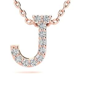 Diamond Initial Necklace, Letter J In Block Style, 14 Karat Rose Gold