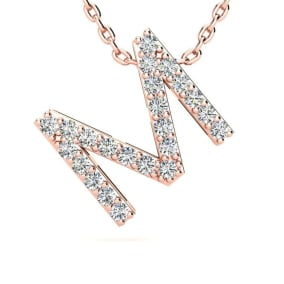 Diamond Initial Necklace, Letter M In Block Style, 14 Karat Rose Gold