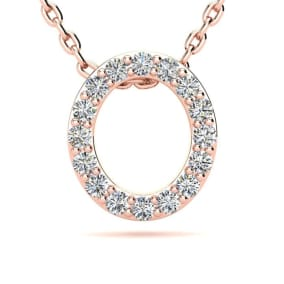 Diamond Initial Necklace, Letter O In Block Style, 14 Karat Rose Gold