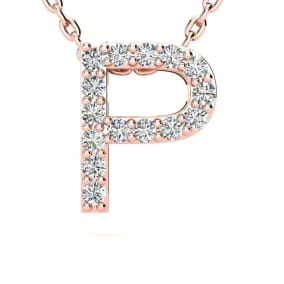 Diamond Initial Necklace, Letter P In Block Style, 14 Karat Rose Gold