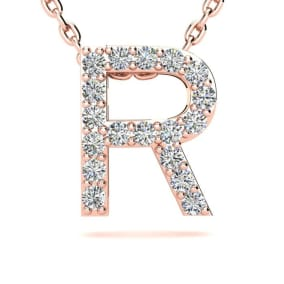 Diamond Initial Necklace, Letter R In Block Style, 14 Karat Rose Gold