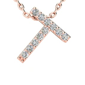Diamond Initial Necklace, Letter T In Block Style, 14 Karat Rose Gold