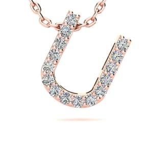 Diamond Initial Necklace, Letter U In Block Style, 14 Karat Rose Gold