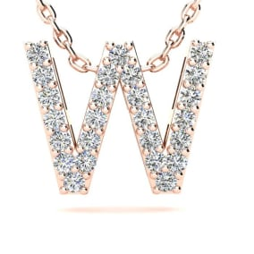 Diamond Initial Necklace, Letter W In Block Style, 14 Karat Rose Gold