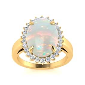4 Carat Opal and Diamond Ballerina Ring In 14 Karat Yellow Gold