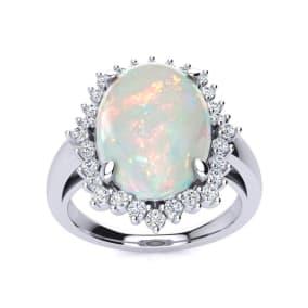 4 Carat Opal and Diamond Ballerina Ring In 14 Karat White Gold