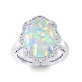 5 Carat Opal and Halo Diamond Ring In 14 Karat White Gold