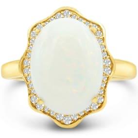 5 Carat Opal and Halo Diamond Ring In 14 Karat Yellow Gold