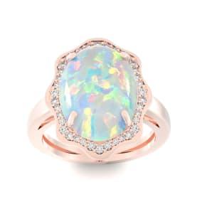 5 Carat Opal and Halo Diamond Ring In 14 Karat Rose Gold