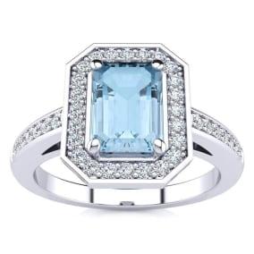 1 Carat Aquamarine and Halo Diamond Ring In 14 Karat White Gold
