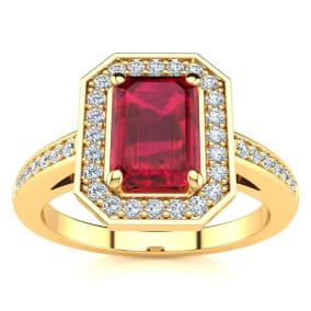 1 1/4 Carat Ruby and Halo Diamond Ring In 14 Karat Yellow Gold