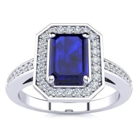 1 1/3 Carat Sapphire and Halo Diamond Ring In 14 Karat White Gold