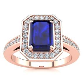 1 1/3 Carat Sapphire and Halo Diamond Ring In 14 Karat Rose Gold