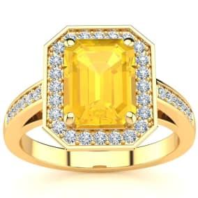 2 1/2 Carat Citrine and Halo Diamond Ring In 14 Karat Yellow Gold