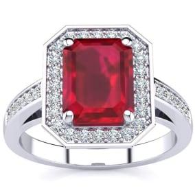 3 1/3 Carat Ruby and Halo Diamond Ring In 14 Karat White Gold